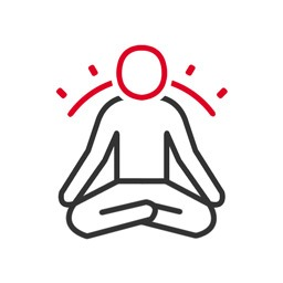 Meditation Icon: Ein meditierende Person mit Aura