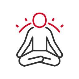 Meditation Icon: Ein meditierende Person mit Aura