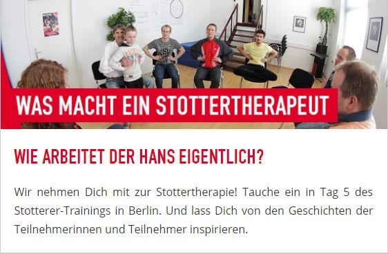 Was macht ein Stottertherapeut und wie arbeitet er? Ein Tag mit Hans beim Stotterer-Training in Berlin.