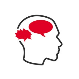 Psychotherapie Icon: Kopfumriss mit unterschiedlichen Sprechblasen