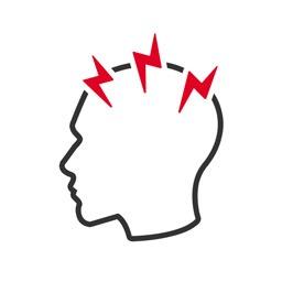Stressbewältigung Icon: Kopfumriss mit eintreffenden Blitzen
